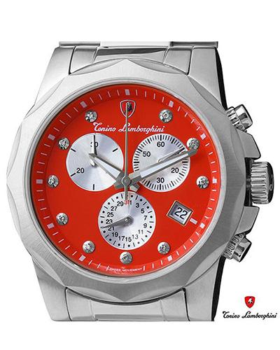 意大利经典 Tonino Lamborghini 兰博基尼 316L精钢0.05克拉钻石男士三眼日历计时石英腕表 EN033D.104