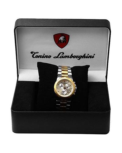 瑞士机芯 Tonino Lamborghini 兰博基尼 土豪金精镶钻熟男必备商务款计时石英钢表 EN033D.306