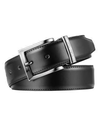 意大利原装进口 Calvin Klein 卡尔文克莱因 男士黑色针扣双面皮带 SU31CK0010