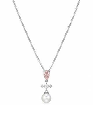 奥地利原装进口 Swarovski 施华洛世奇 PERFECTION 粉晶珍珠十字女士项链 5516591
